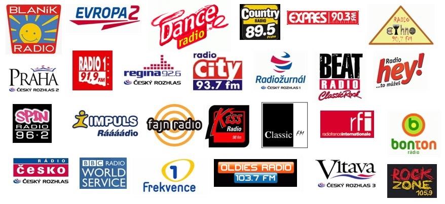 Logotypy pražských FM stanic